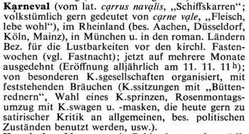 Karneval nach Bertelsmann Lexikon 1963